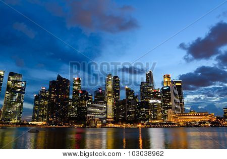 sunset view of Singapore downtown and marina bay