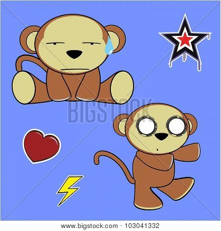 sweet monkey cartoon expressions pack