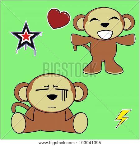 sweet monkey cartoon emotions set