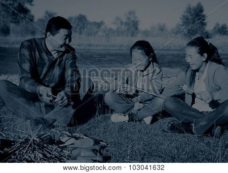 Mongolian Family Enjoy Camping River Leisure Concept