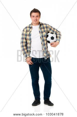 Young man with soccer ball, isolated on white background