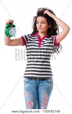 Beautiful girl holding alarm clock, isolated on white background