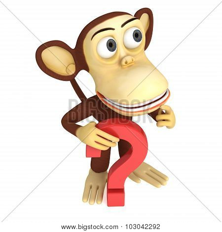 3D Funny Monkey With Red Question Mark