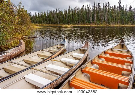 Canoes moored in McGillivray Lake