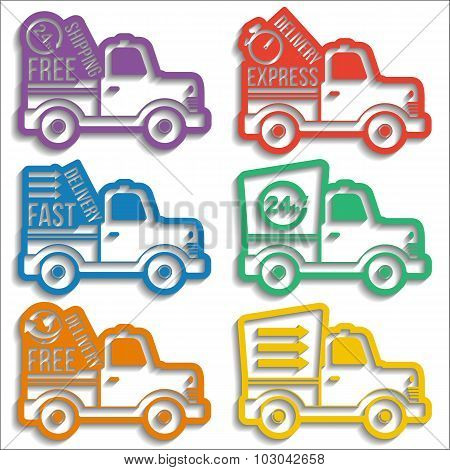Free Delivery Label Icons Set