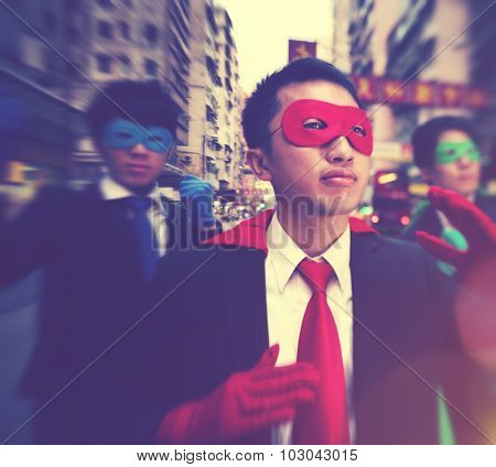Chinese Ethnicity Business Superheroes Confident Concept