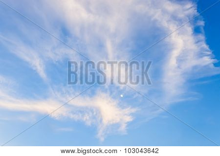 Blue Sky And The Moon Background With Tiny Clouds