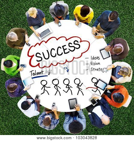 Success Thought Bubble Stick People Concept