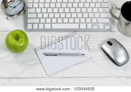 Office Work Supplies On White Wooden Desktop