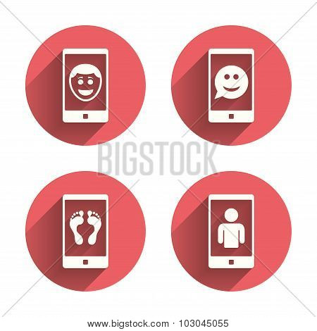 Selfie smile face icon. Smartphone video call.