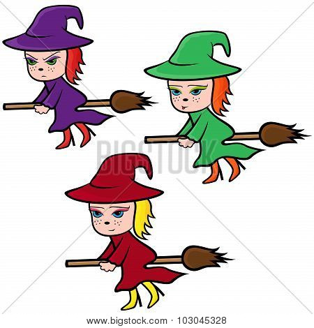 Halloween Set Of Three Colorful Witches