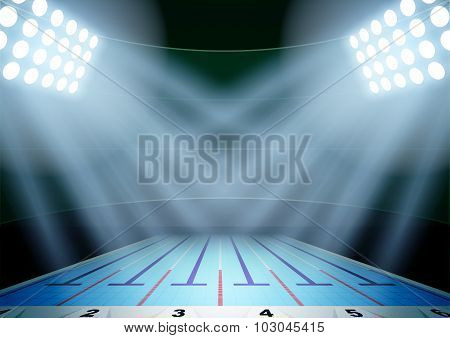Background for posters night swimming pool stadium in the spotlight.