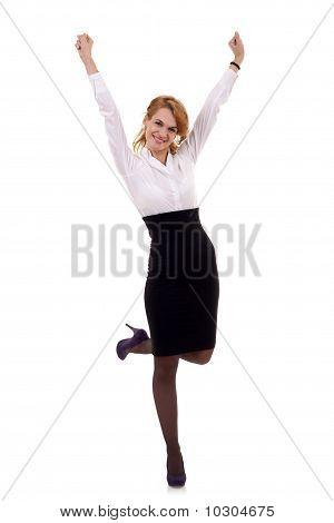 Joyous Business Woman Celebrating