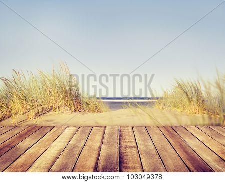 Beach Wooden Plank Balcony Summer Concept