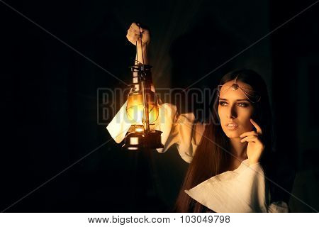 Beautiful Medieval Princess Holding Lantern