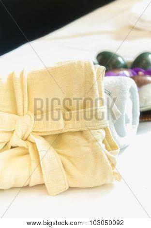 Towel And Rock Set Of Natural Spa