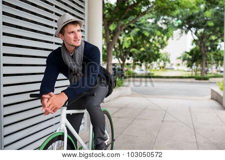 Guy on fixed gear bike