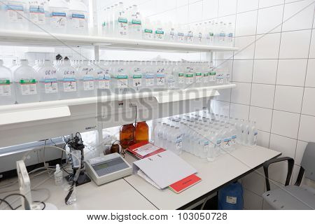 ST. PETERSBURG, RUSSIA - SEPTEMBER 24, 2015: Analytical laboratory on the Solopharm plant. The new modern pharmaceutical plant was built in accordance with Good Manufacturing Practice standards