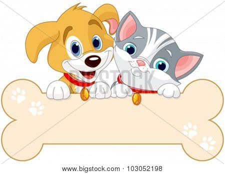 Cat and dog are holding sign (add your own message)