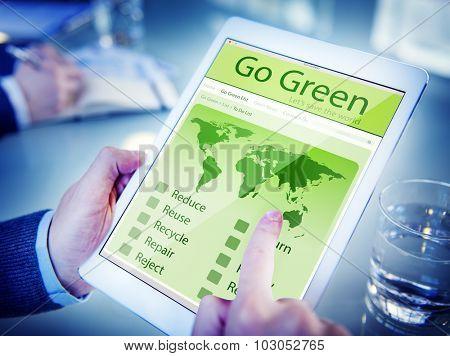 Hands Holding Digital Tablet Go Green