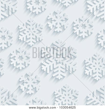 Snowflakes 3d seamless background. White perforated paper with cut out effect.
