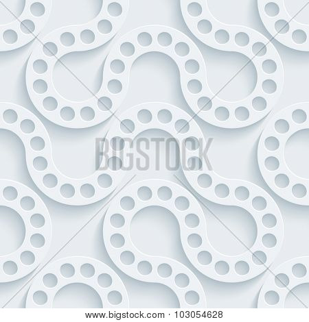 Flow 3d seamless background. White perforated paper with cut out effect.