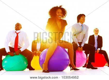 Business People Relaxation Playing Jumping Concept
