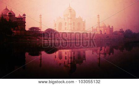 Taj Mahal Memorial Travel Destination 7 Wonders Concept