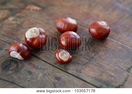 Chestnuts On Wood