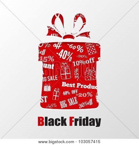 Cut Out The Paper In Shape Gift Box For Black Friday