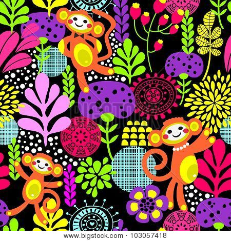 Cute monkey seamless texture with flowers.