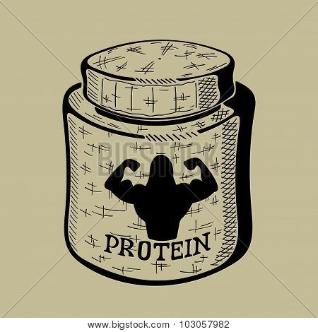 Hand drawn bank with Protein. Sport Nutrition Container.