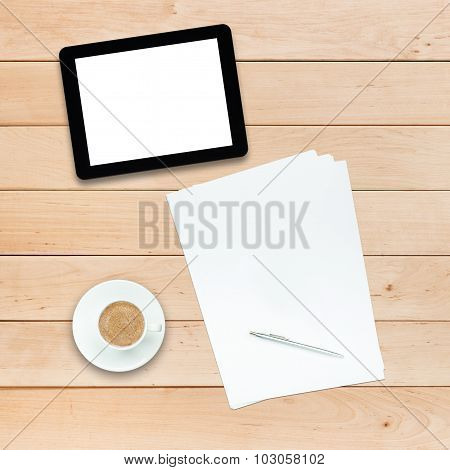 Tablet Pc Coffee And Paper