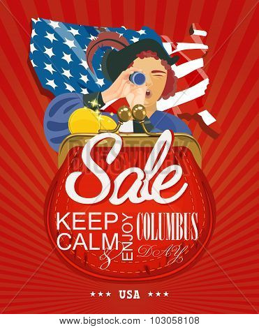 Columbus day poster. Sale card