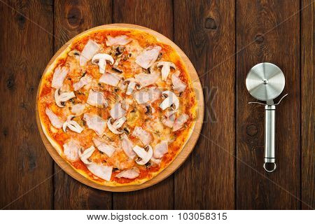 Delicious Pizza With Mushrooms And Smoked Chicken And Cutter