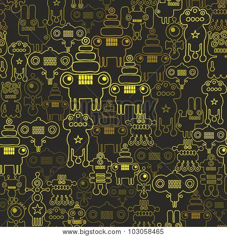 Robot and monsters seamless pattern.