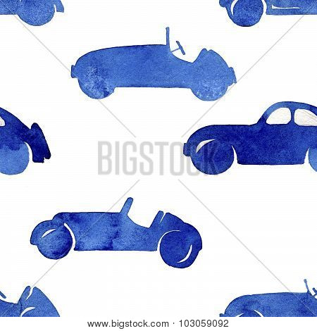 Seamless  pattern watercolor silhouettes retro cars