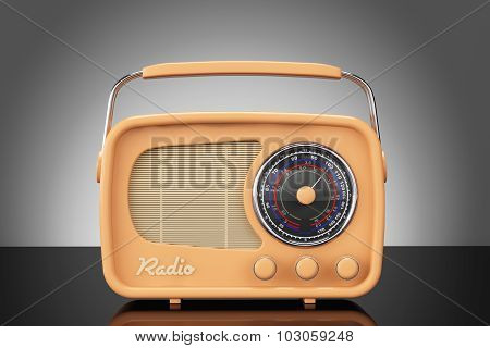 Old Style Photo. Vintage Radio On Table