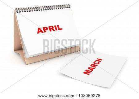 Folding Calendar With April Month Page