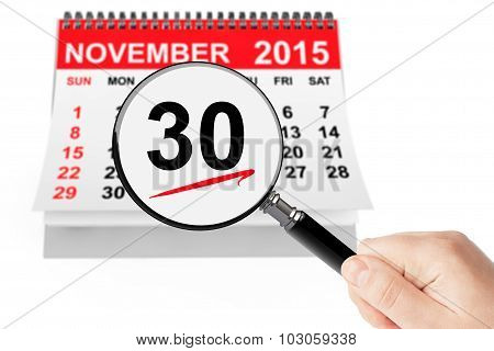 Cyber Monday Concept. 26 November 2015 Calendar With Magnifier