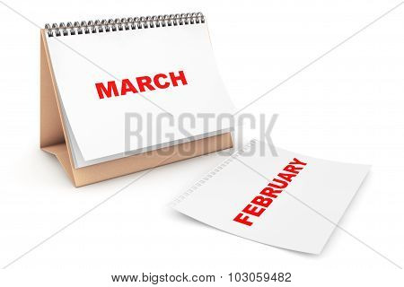 Folding Calendar With March Month Page