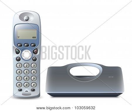 Wireless Phone With Cradle On White. Vector Illustation