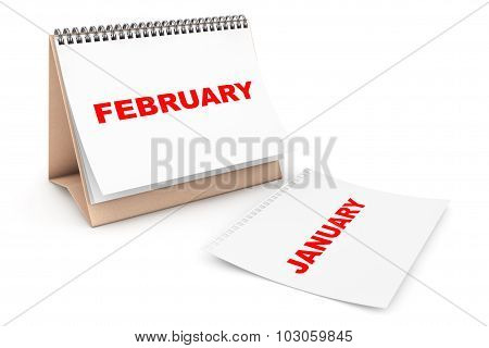 Folding Calendar With February Month Page