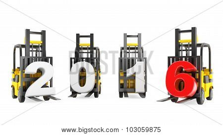 Forklift Trucks With 2016 New Year Sign