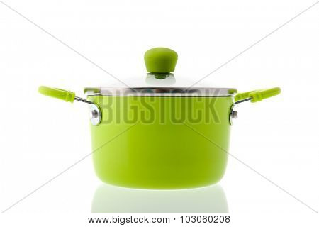 Single green pot for cooking isolated over white background