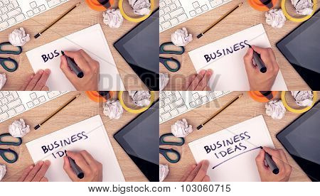 Business Ideas, Businessman Writing Ideas On Paper