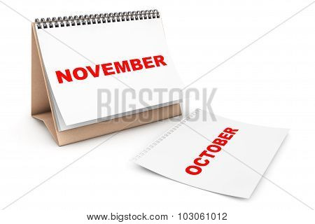 Folding Calendar With November Month Page
