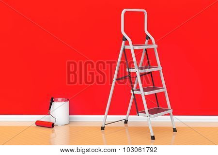 Painting Of Walls In A Red Color Concept. Paint Can With Roller Brush And Ladder