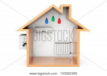 Air Conditioner And Heating Radiator In The Wooden House Outline