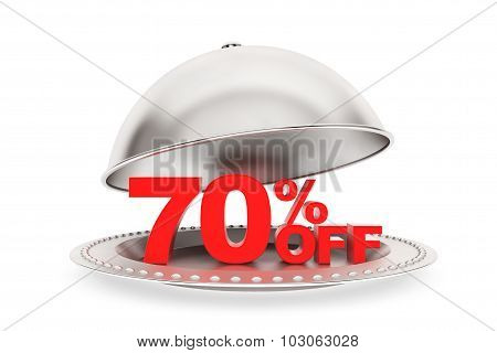 Restaurant Cloche With 70 Percent Off Sign